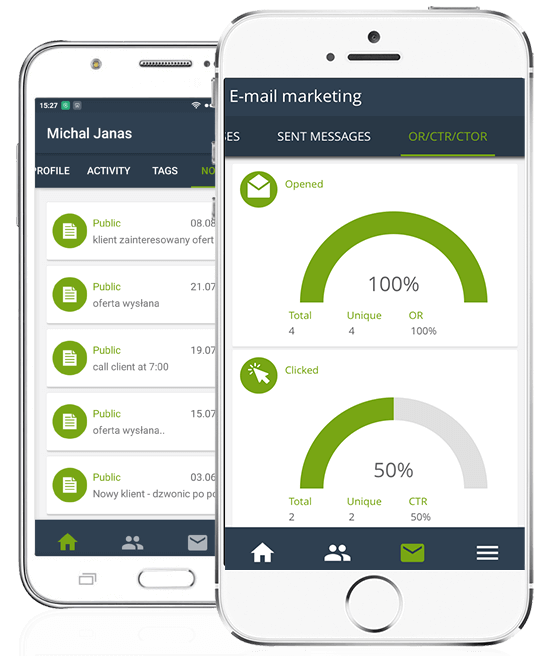 View of SALESmanago mobile application